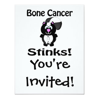 Bone Cancer Stinks Skunk Awareness Design 4.25x5.5 Paper Invitation Card