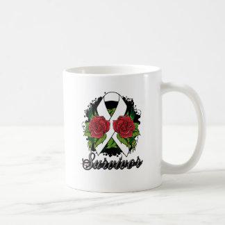 Bone Cancer Survivor Rose Grunge Tattoo Classic White Coffee Mug