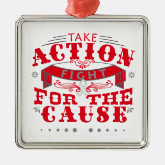 Bone Cancer Take Action Fight For The Cause Square Metal Christmas Ornament