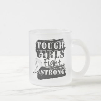 Bone Cancer Tough Girls Fight Strong 10 Oz Frosted Glass Coffee Mug