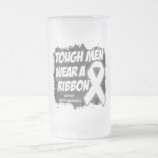 Bone Cancer Tough Men Wear A Ribbon 16 Oz Frosted Glass Beer Mug