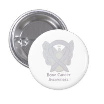 Bone Cancer White Angel Awareness Ribbon Pin