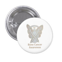Bone Cancer White Angel Awareness Ribbon Pins