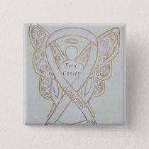 Bone Cancer White Awareness Ribbon Angel Pin