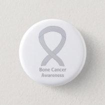Bone Cancer White Awareness Ribbon Custom Pins