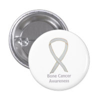 Bone Cancer White Awareness Ribbon Custom Pins