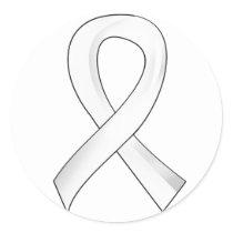 Bone Cancer White Ribbon 3 Classic Round Sticker