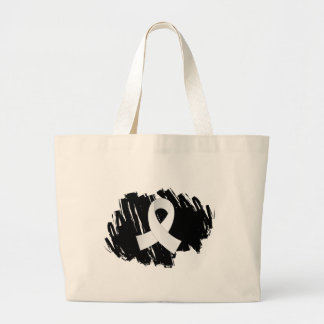Bone Cancer White Ribbon With Scribble Tote Bags