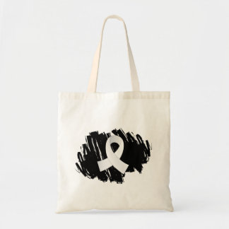 Bone Cancer White Ribbon With Scribble Bag