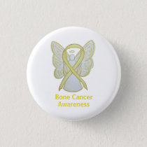 Bone Cancer Yellow Angel Awareness Ribbon Pin