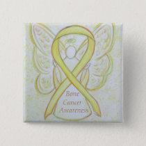 Bone Cancer Yellow Awareness Ribbon Angel Pin