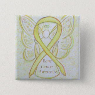 Bone Cancer Yellow Awareness Ribbon Angel Pin