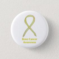 Bone Cancer Yellow Awareness Ribbon Art Button