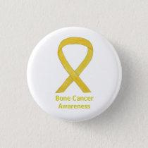 Bone Cancer Yellow Awareness Ribbon Art Buttons