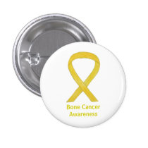 Bone Cancer Yellow Awareness Ribbon Art Buttons