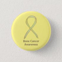 Bone Cancer Yellow Awareness Ribbon Custom Pins