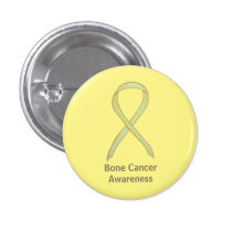 Bone Cancer Yellow Awareness Ribbon Custom Pins