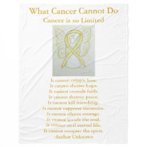 Bone Cancer Yellow Awareness Ribbon Fleece Blanket