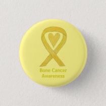 Bone Cancer Yellow Heart Awareness Ribbon Pin