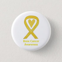 Bone Cancer Yellow Heart Awareness Ribbon Pins