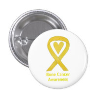 Bone Cancer Yellow Heart Awareness Ribbon Pins