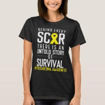 Bone Cancer Yellow Scar Osteosarcoma Awareness T-Shirt