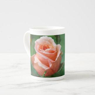 Bone China Cup w Pastel Peach Rose Bud Tea Cup