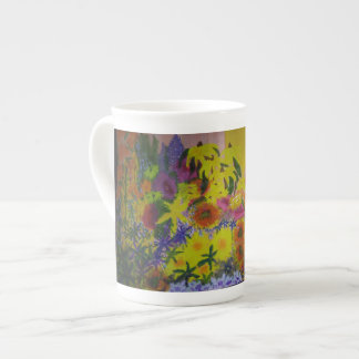 Bone China Cup with Wildflower Painting Print