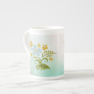 Bone China Green Blue Floral Tea Cup