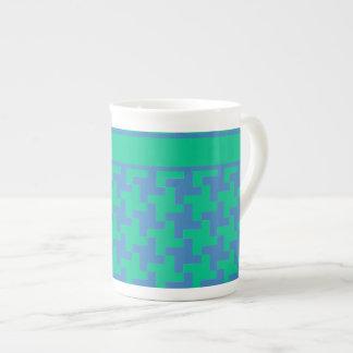Bone China Mug, Emerald and Blue Dogtooth Check Tea Cup