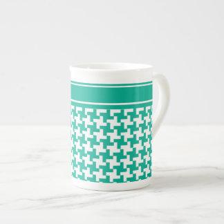 Bone China Mug, Emerald Green Dogtooth Check Tea Cup