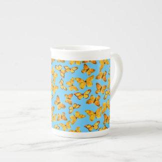 Bone China Mug, Golden Butterflies on Sky Blue Tea Cup