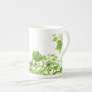 Bone China Mug-Green Floral Tea Cup