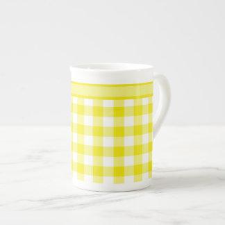 Bone China Mug, Lemon Yellow Check Gingham Tea Cup