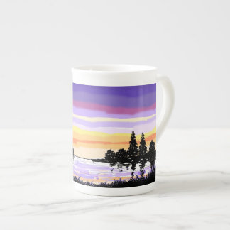 Bone China Mug sunset lake scene