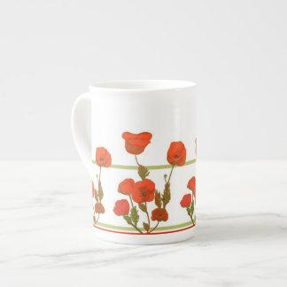 Bone China Poppy print mug
