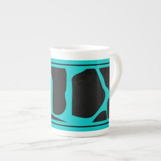 Bone China Teal Blue Aqua Black Cow Animal Print Tea Cup