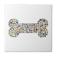 BONE Dog Cartoon Ceramic Tile
