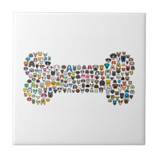 BONE Dog Cartoon Ceramic Tile