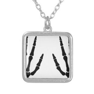 Bone Hands Isolated Silver Plated Necklace