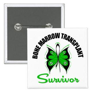 Bone Marrow Transplant Survivor Butterfly 2 Inch Square Button