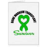 Bone Marrow Transplant Survivor Heart Ribbon Greeting Card