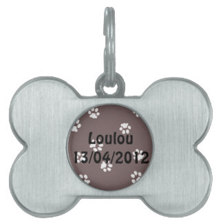 Bone Pet Tag Pattes Blanche/Marron