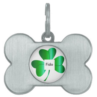 Bone Shaped Pet Tag with Shamrock and Name Place