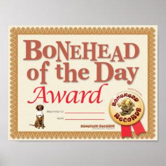 Bonehead Award Certificate Poster