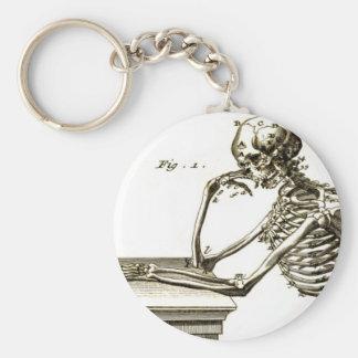 BONEHEAD el esqueleto de comtemplación Llavero Redondo Tipo Pin