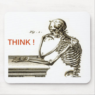 BONEHEAD The Contemplating Skeleton Mouse Pad