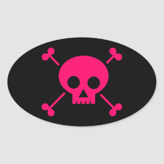 bones-156548  bones crossbones girly pink poison p oval sticker