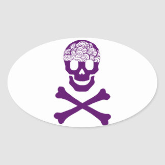 Bones and Brains Oval Stickers