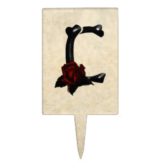 Bones and Roses Gothic Monogram C Cake Topper